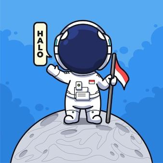 かわいい線画イラストで旗を保持し、月に挨拶するインドネシアの小さな宇宙飛行士