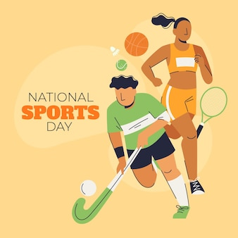 Indonesian national sports day illustration
