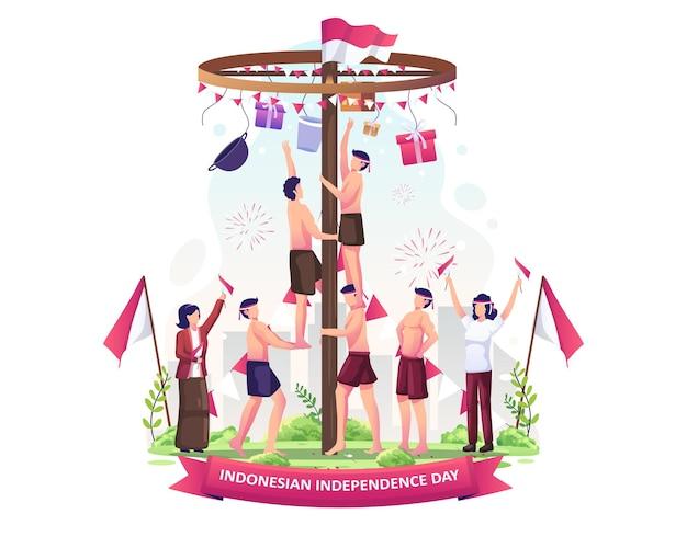 インドネシアの人々はインドネシアの独立記念日のイラストを祝うためにピナン登山しています