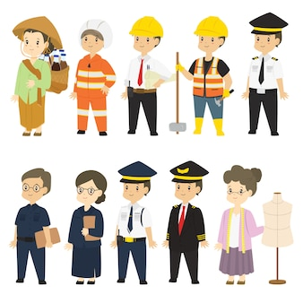 Indonesian people in different profession vector set