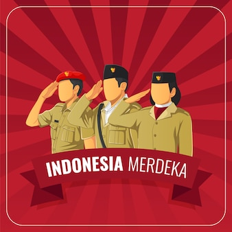 Indonesian republic independence day greetings card