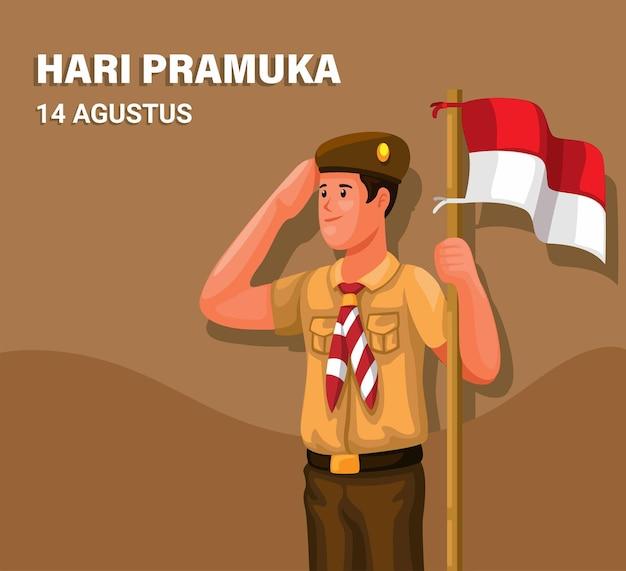 インドネシアのスカウトの日別名ハリプラムカ8月14日学生服スカウト制服敬礼ベクトル
