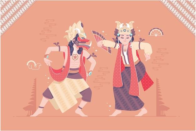 인도네시아 전통 댄서 벡터 일러스트 레이 션