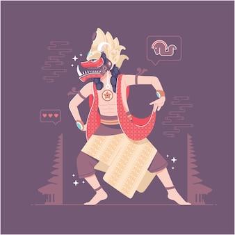 인도네시아 전통 무용 삽화 배경