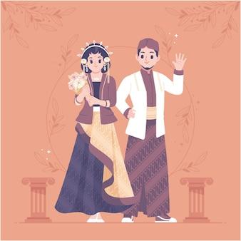 インドネシアの伝統的な結婚式のカップルのキャラクター