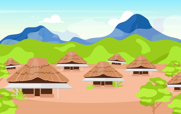 Indonesian wooden houses   illustration. kajang leko jambi. building in balinese style. asian traditional primitive cottage. settlement in mountains. joglo houses cartoon background