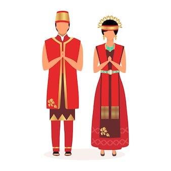 インドネシア人フラット。大人のカップル。ご挨拶。先住民族。アジアの文化。国民のお祝いの赤い服に身を包んだ人々は、白い背景の上の漫画のキャラクターを分離しました