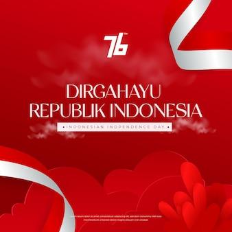 インドネシア第76回独立記念日のお祝いの背景はdirgahayurepublikインドネシアの手段