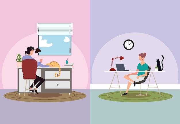 屋内活動、ラップトップで働く男性と女性、家にいるイラスト