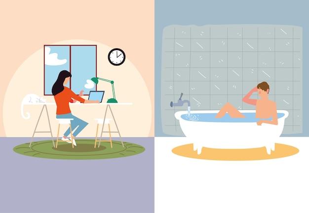 Мероприятия в помещении, женщина печатает в ноутбуке и мужчина принимает ванну