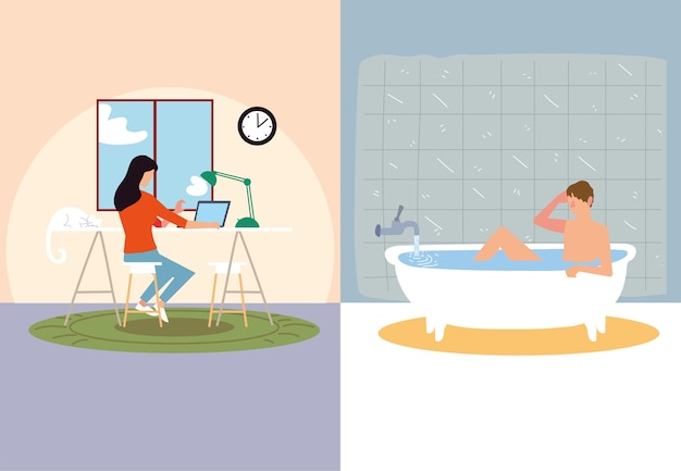 Indoor activities, woman typing in laptop and man taking bath illustration
