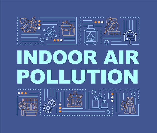 Indoor air pollution word concepts banner