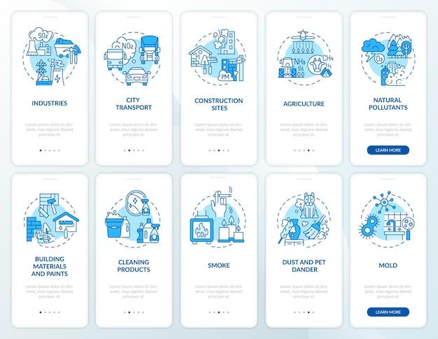 コンセプトが設定された屋内および大気汚染物質のオンボーディング モバイル アプリ ページ
