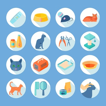 Indoor cat care flat round icons set with food and accessories supply abstract shadow isolated vector illustration