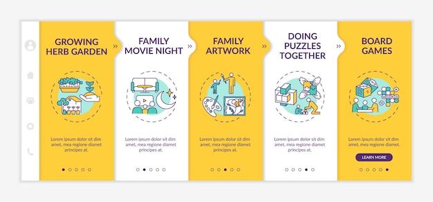 Indoor family activities onboarding app mobile template