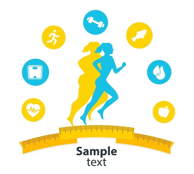 Indoor fitness concept and fitness app isolate