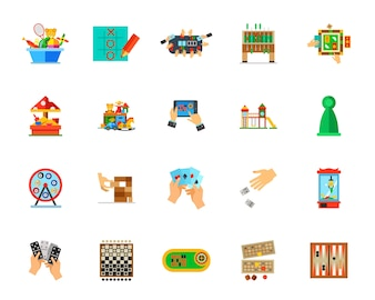 Indoor games icon set