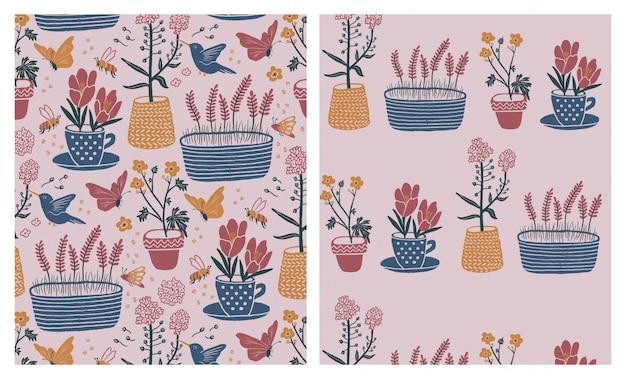 Indoor garden seamless patterns set