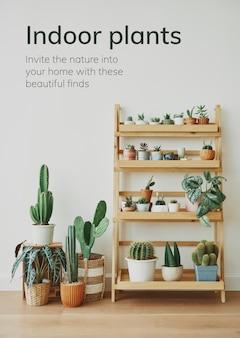 Крытый садоводство шаблон вектор с небольшими комнатными растениями