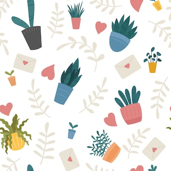 Indoor home plants in ceramic pots seamless pattern