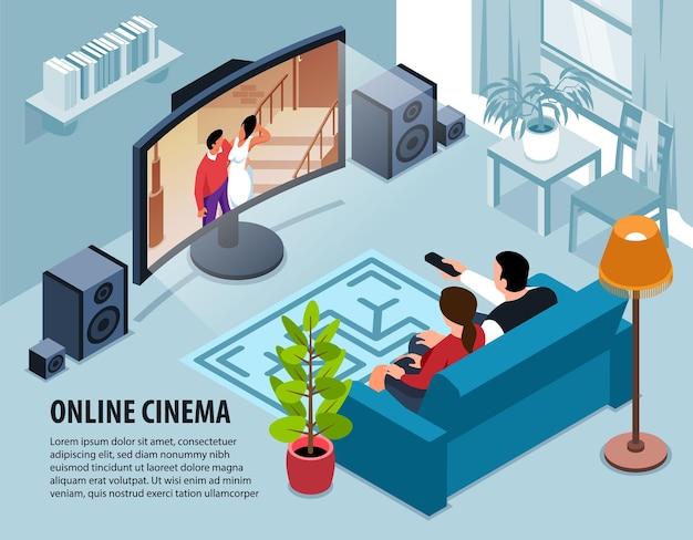 Интерьер гостиной в помещении с телевизором и людьми и текстом