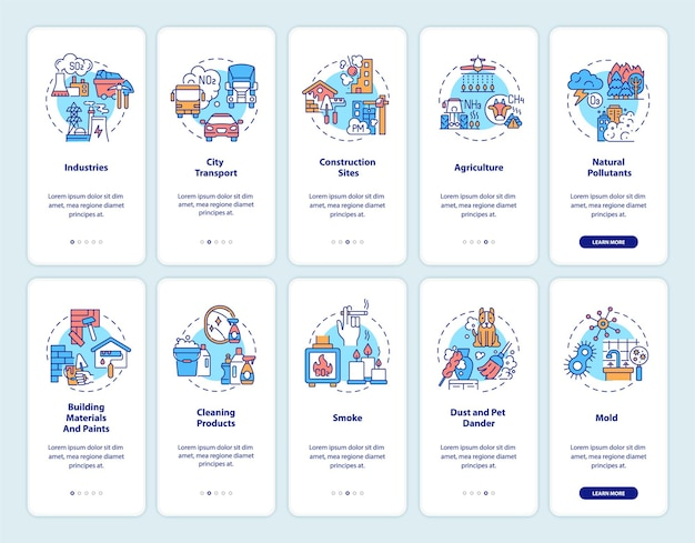 Indoor and outdoor air pollution onboarding mobile app page screen with concepts set