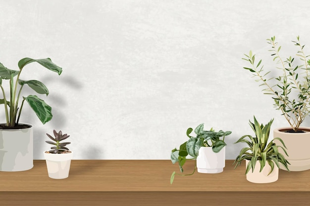 Indoor plant background tropical vector with blank wall
