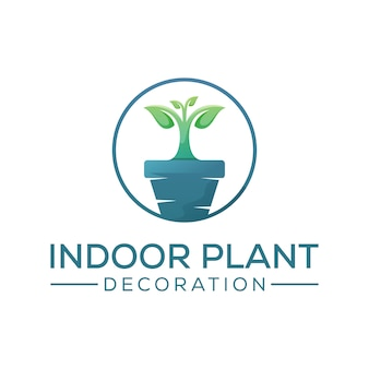 Indoor plant decoration logo design, grow tree logo design template