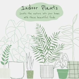 Indoor plants vector template in doodle style