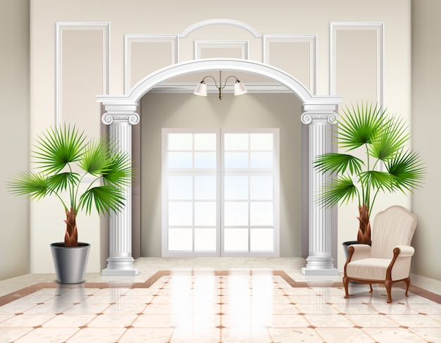 Indoor potted fan palm trees as decorative houseplants in classic spacious vestibule interior realistic
