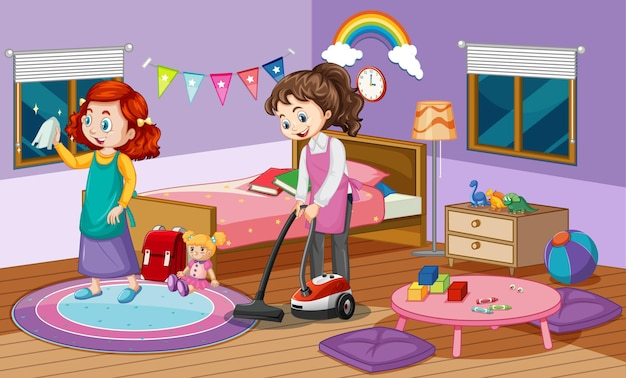 Indoor scene with two girls cleaning in the bedroom