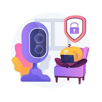 屋内セキュリティシステムの抽象的な概念のベクトル図です。スマートハウスの設置、モバイルアプリケーション、コントロールセンター、スマートフォンで操作されるホームセキュリティシステム、ドアロックの抽象的なメタファー。
