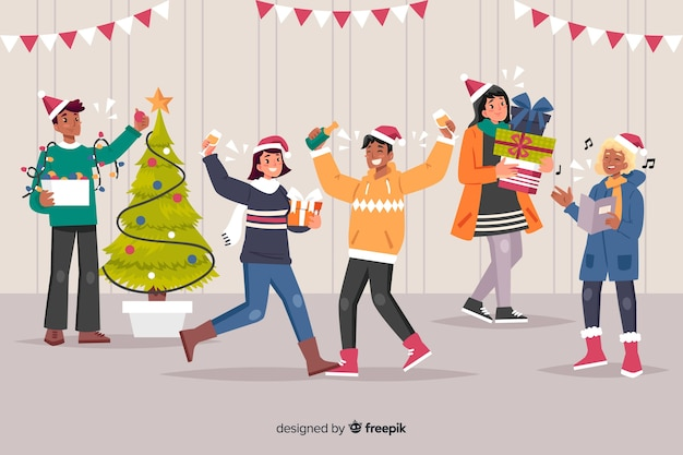 Indoor super christmas party cartoon