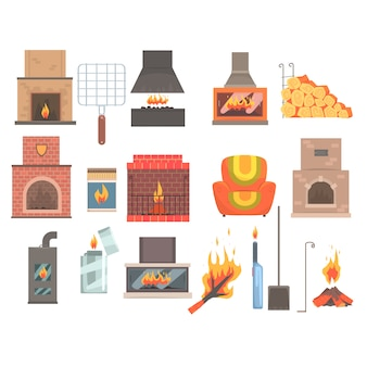 Indoors and outdoors fireplaces and bonfires with related attributes and tools set of   cartoon objects