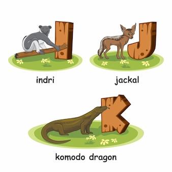 Indri jackal komodo dragon wooden alphabet animals