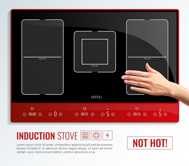 Induction hob surface hand template
