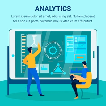Industrial analytics flat vector banner template