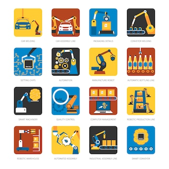 Industrial assembly line flat elements set