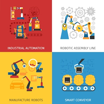 Industrial assembly line vector images