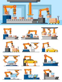 Industrial automated manufacturing concept
