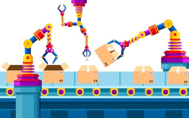 산업 자동화. 조립 라인의 로봇 팔 기술. 자동화 된 로봇 팔. 판지 상자에 제품을 포장하기위한 로봇 컨베이어 벨트. 삽화.