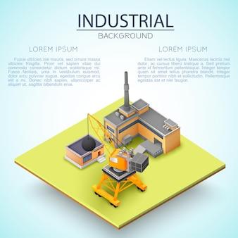 建設に関するビジネスプレゼンテーション用のテキストの場所を備えた産業背景構成