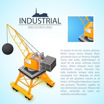 Industrial background with 3d construction machinery