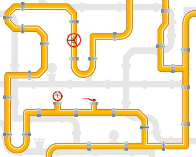 Промышленная предпосылка с желтым трубопроводом с штуцерами и клапанами. трубы и клапаны. трубопровод инфографики шаблон. нефть, вода или газ.