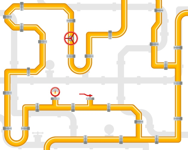 Industrial background with a yellow pipeline with fittings and valves. pipes and valves. pipeline infographic template. oil, water or gas.