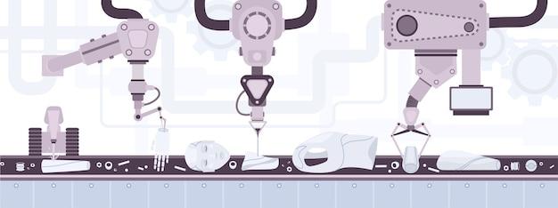 人間の外見を持つロボットの身体部分を運ぶ産業用ベルトコンベヤー