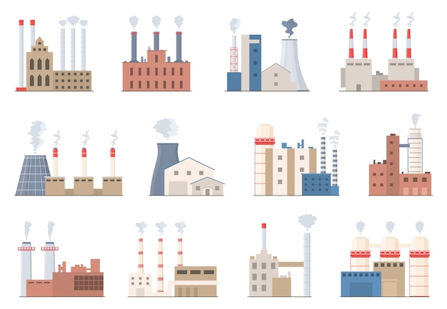 Industrial building. factory chimney with smoke. colored industrial pipes in flat style. environmental pollution. toxic factory smoke. smokestack vector illustration.