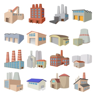 Industrial building factory and power plants cartoon icons set