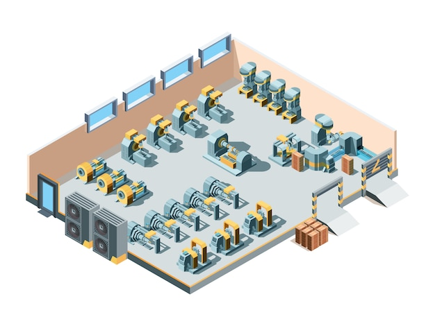 Industrial building. isometric factory interior production heavy steel machines mechanic manufacturing equipment engineering