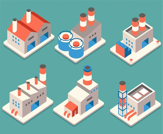 Industrial building isometric icon vector 02